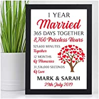 1st 10th 25th 30th 40th 50th Golden Wedding Anniversary Gifts PERSONALISED for Him, Her - Custom Paper, Silver, Ruby Wedding Anniversary Presents for Husband, Wife, Mum, Dad, Couples Keepsake