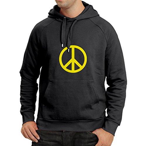 lepni.me Kapuzenpullover Das Friedenszeichen, Retro-, Weinlesesymbol - Bewegung 60s (Medium Schwarz Gelb)