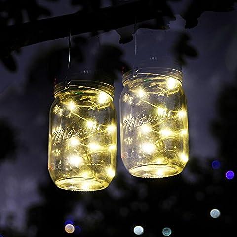 Solar Mason Jar Lichterkette (Mason Jar & Griff, die)–10LED-Lichter zum Aufhängen Jar, wasserdicht & Pfad Licht Garten Outdoor Solar Laterne & Tisch Laterne–geeignet für Party Hochzeit Weihnachten Deko White*3