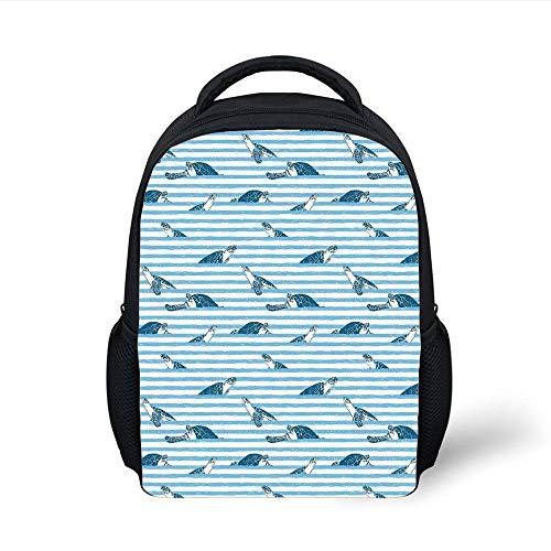 Kids School Backpack Striped,Turtles and Blue Stripes Abstract Print Aquatic Theme Caretta Ocean Animals Pattern,Blue Navy Plain Bookbag Travel Daypack - Ocean Beach Stripe