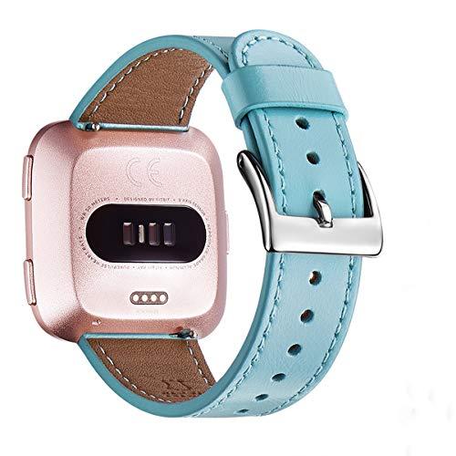 WFEAGL Kompatibel für Fitbit Versa Armband, Top Grain Lederband Ersatzband mit Edelstahl-Verschluss für Fitbit Versa Fitness Smart Watch (Tiffany Blau+Silber Schnalle)