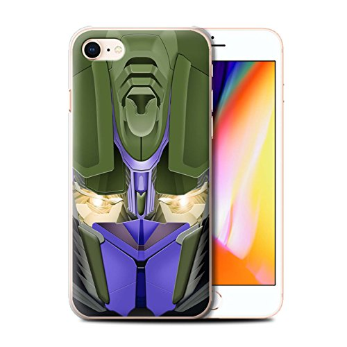 Stuff4 Hülle / Case für Apple iPhone 8 / Mega-Bot Blau Muster / Roboter Kollektion Opta-Bot Blau