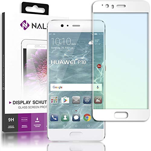 NALIA Cristal Templado para Huawei P10, Vidrio Blindado Película Protectora Display Cobertura, 9H Dureza Protector de Pantalla Tempered-Glass para Movil Telefono Celular Huawei-P10, Color:Blanc