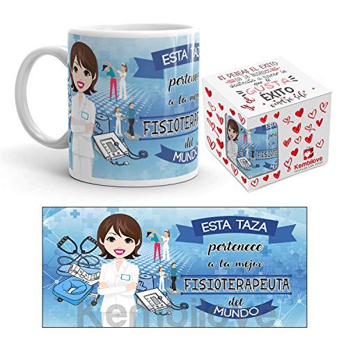 Kembilove Taza de Café del Mejor Fisioterapeuta del Mundo - Taza de Desayuno para la Oficina - Taza de Café y Té para Profesionales - Taza de Cerámica Impresa - Tazas de Jefe de 350 ml