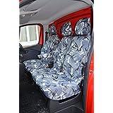 Opel Vivaro a partir de 2014Modelo de base del asiento del conductor y empuñadura doble pasajeros gris camuflaje fundas de asiento