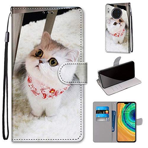 Miagon Flip PU Leder Schutzhülle für Huawei Mate 30,Bunt Muster Hülle Brieftasche Case Cover Ständer mit Kartenfächer Trageschlaufe,Schal Katze