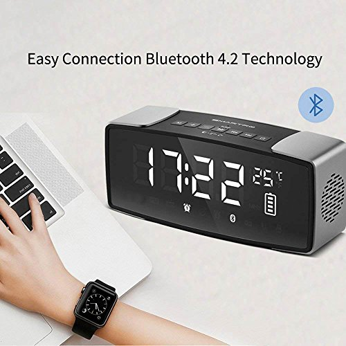 "SMARTRO P2 Alarm Clock Bluetooth Speaker, Dual Loud Alarm Clocks Radio for Bedrooms, Bedside, Travel, Heavy Sleepers, 7"" Large LED Display, Digital FM Radio, Stereo Sound, Snooze, AC& Battery Operated"