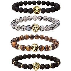 Jilin - Juego de pulseras unisex, piedra de lava, ágata negra mate, ágata vena de dragón, ojo de tigre, con cuentas, cabeza de león dorada y plateada