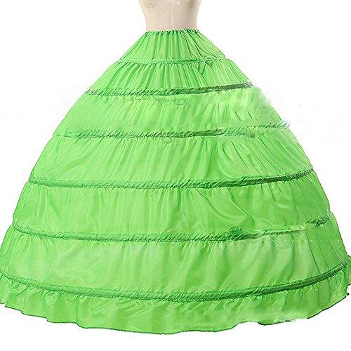 Sunzeus 6 Hoops Ballkleid Petticoat für Hochzeitskleid Bunte Quinceanera Kleid unter Kirt Grün