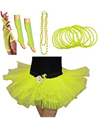 ANGIES FASHION LADIES GIRLS NEW NEON UV TUTU GLOVES LEG WARMERS BEADS & BANGLES FANCY DRESS HEN PARTY