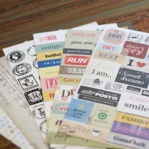 YPSelected 6 Hojas Vintage Mensaje Adhesivo Craft Pegatinas de Papel Sello Deco Regalo