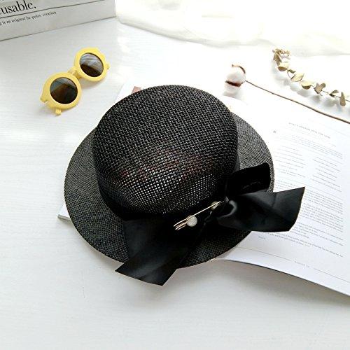 La version coréenne de la trombone pearl petit capot rond Printemps et été frais sauvage petit nœud papillon plage visière chapeau de paille chapeau bonnet tide ,56-58cm- noir 56-58cm- noir