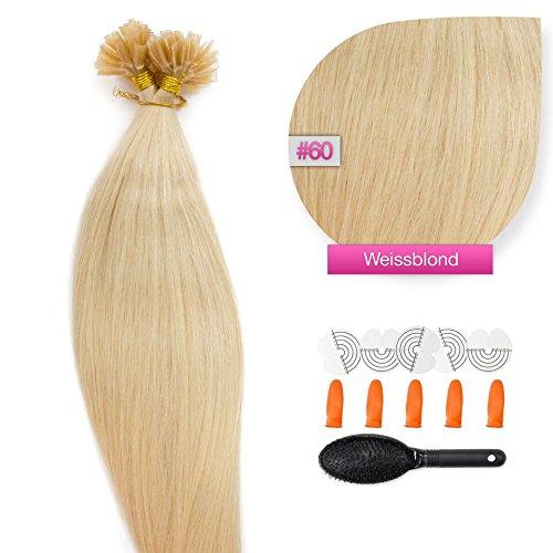 150 x 1,0g glatte indische Remy 100% Echthaar-Strähnen/ U-tip / Extensions / Haarverlängerung mit Keratinbondings 50 cm #60 Weißblond - very light blonde