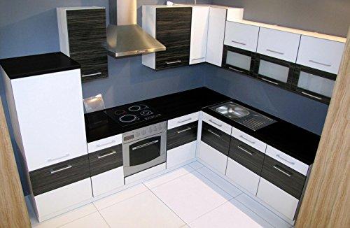 Winkelküche Jessy 270 x 220cm Küchenzeile/Küchenblock variabel stellbar in Weiss/merapi