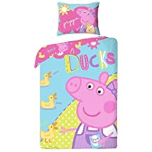 Peppa Pig -Juego de ropa de cama (funda de edredón 140x 200 cm, funda de almohada 70x 90 cm)