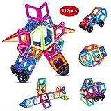 Anpro 112 Piezas Bloques de Construcción Magnéticos con Letra y Número,Juegos Imantados, Juguetes educativos y Creativos como Regalos para Niños en Fiestas y Cumpleaños