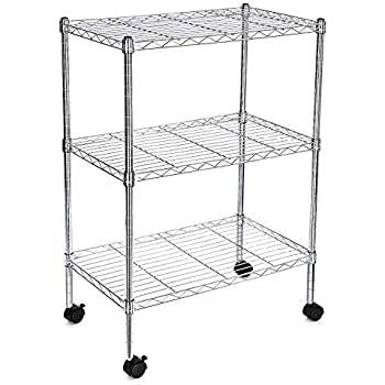 songmics kitchen shelf with wheels chrome 3 tire sturdy rolling cart shelving unit storage. Black Bedroom Furniture Sets. Home Design Ideas