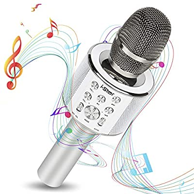 Bluetooth Karaoke Microphone - i-Star Wireless Karaoke Mic - Pairable For Duets - 5W Speaker (Silver)