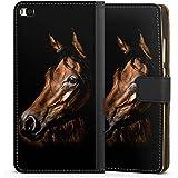 Huawei P8 Tasche Hülle Flip Case Pferd Horse Braun