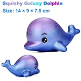 LeeY Exquisit Spaß Groß Delphin Matschig Charme Langsam Steigend 12 cm Simulation Kinder Spielzeuge Dekompression Spielzeuge Neueste Matschig Jumbo Erwachsene Karikatur Druck Freisetzung Spielzeug Exquisit Spielzeuge (Blau, 12*9*7.5cm)
