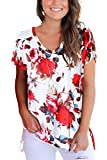 Dasbayla Floral T Shirt Tops Short Sleeve Tshirt Summer Basic Tees Tops Cotton Blouse White M
