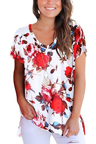 Blumenmuster Sommer V-Neck T-Shirt Damen Kurzarm Tshirt Casual Loose Baumwoll T Shirt Sport Weiß S - V-neck Baumwolle T-shirts Drucken