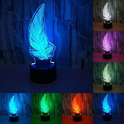 3D Visuelle Kreative LED Lampe 3 Watt Für Kinder Nachtlichter Feder 7 Farben Touch-Schalter Steuerung Kunst Lichter Für Baby Kinder Erwachsene Für Baby Schlafzimmer Kindergarten Geburtstagsgeschenk -