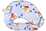 #6: MomToBe Blue Bear Feeding Pillow with front pocket - HD Foam 100% Cotton Fabric