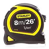 Stanley STA130656N Pocket Tylon Tape, 8 m/26 feet (25 mm) - Yellow and Black