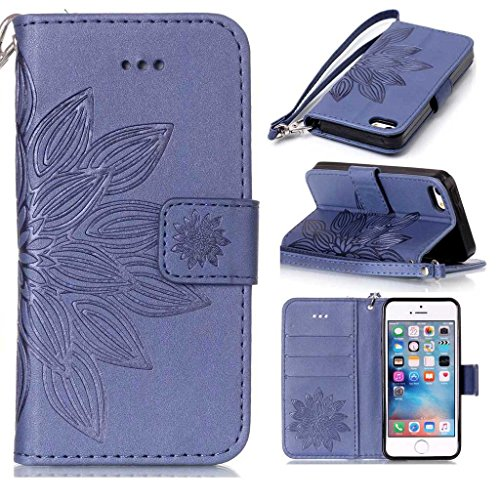 Price comparison product image iPhone 5s se Wallet Case, BoxTii® iPhone 5 5s SE Case with [Free Screen Protector] [Card Slots] [Magnetic Closure], Shock Proof Bumper Cover and Premium Embossed Leather Flip Case for Apple iPhone 5s / iPhone 5 / iPhone SE (#6 Blue)