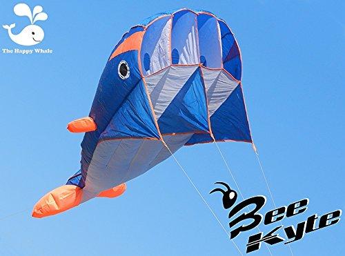 Bee-Kite Happy Whale - Cometa monocable Parafoil 220 x 75 cm. sin...
