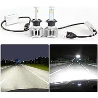 LED Lampadine per fari ezykoo H7auto lampada frontale a LED Kit di sostituzione con CREE Chip IP68impermeabile, 80W 7200LM 6000K Luce Bianca Fredda (2pcs/set)