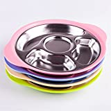 Baffect Kid Fedding Dinner Plates Partition To Eat Safety Stainless steel Health Balanced Diet Colorful Children's plate