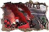 Ultras Nürnberg, 3D Wandsticker Format: 92x62cm, Wanddekoration