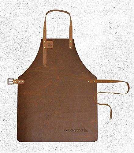 Gaba Gaba - Grillschürze / Lederschürze / Kellnerschürze aus Leder (geeignet für Barista, Gastronomie & Grillen) - Buffalo - Gazelle (Nussbraun) - L - 62,5 x 85cm