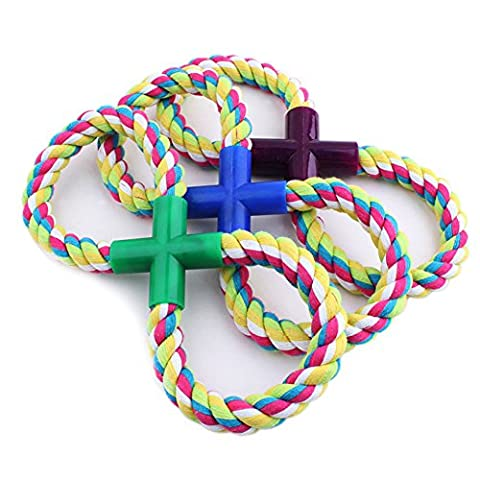 Coribe LOVELY PETS DOG CAT TOYS 18CM TUG ROPE WITH BALL FIGURE OF 8 TUG OF WAR NEW