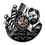 Lanlugg Barber Shop Orologio da Parete Decorativo da Parete Parrucchiere Orologio da Parete in Vinile Design Moderno Orologi 3D Decorazione da Parete per Barbiere