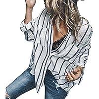 Damen Tshirt,Geili Frauen Mode Long Sleeve Gestreiftes T-Shirt Damen Sexy Knopf Fronttasche Lose Beiläufige Bluse... preisvergleich bei billige-tabletten.eu