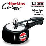 Hawkins Contura Hard Anodised Aluminium Pressure Cooker, 1.5 Liters, Black
