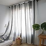 PUERI Rideaux Voilage à Oeillets Voilage Blanc et Gris Voile Fenêtre Transparent Voilage en Lin Salon Chambre 100*250cm B