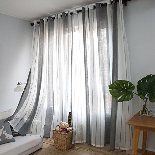 Lino tende, solid sheer grommet rod pocket retro lungo blackout camera da letto finestra tende pannello draperie one pair garza per soggiorno bianco e grigio