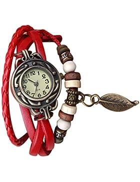 OrrOrr Blatt Leder Uhr Weave Wrap Around Retro Armband-Dame Frau Armbanduhr rot