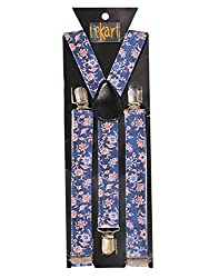 Tiekart men blue floral suspenders