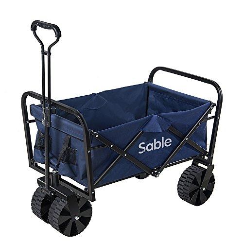 Bollerwagen Sable Faltbarer Handwagen Transportwagen Gartenkarre Faltwagen bis 100 kg belastbar, 29 x 76 x 47 cm Blau