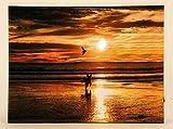 LED Wandbild Sonnenuntergang am Strand mit Hund beleuchtet 30cm x 40cm Leinwand Bild Feng Shui