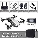 BeesClover Quadricoptère Pliable RC Drone x Pro 5G Selfie WiFi FPV avec 4K HD Double caméra Paquet de Batterie Simple Noir 4K