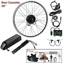 """36V350W 26"""" Kit de Conversión, Kit Bicicleta Eléctrica Hub Motor Trasero Negro Piñones de Cassette para MTB +Batería de Litio 36V 14,5Ah (Celdas Samsung)"""