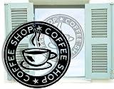 Fenstertattoo selbstklebend ~ COFFEE SHOP Kaffee, Küche, rund ~ glas045-57x57 cm 620086 Aufkleber für Fenster, Glastür und Duschtür, Badezimmer Glasdekor Fensterbild, wasserfeste Glasdekorfolie in Sandstrahl - Milchglas Optik