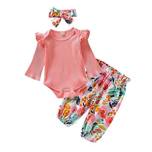 KINGWani ❤ Infant Rüschen solid Strampler Body + Floral Hose + Stirnband Baby Mädchen Outfits