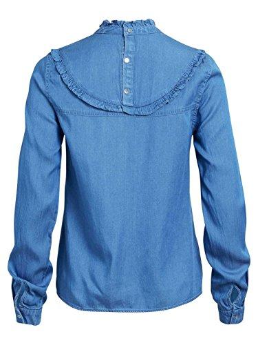 Chemise Vila Vibista L / S Bleu Denim Ruffle Bleu